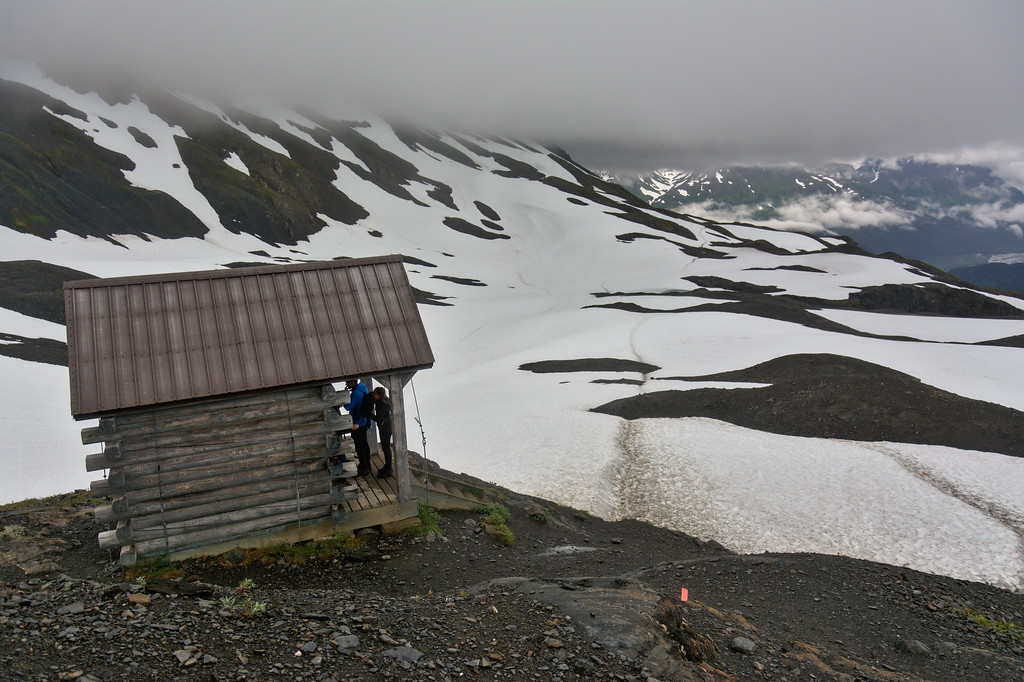 Trail shelter along the Harding Icefield Trail.
