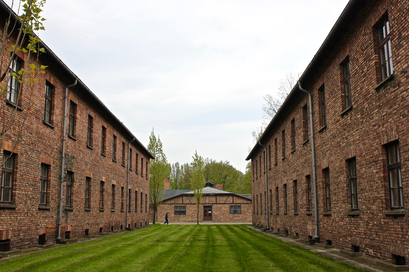 brick buildings of Auschwitz I concentration camp