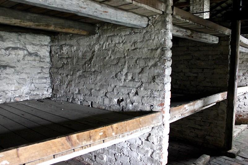 bunks in boys barracks at Birkenau