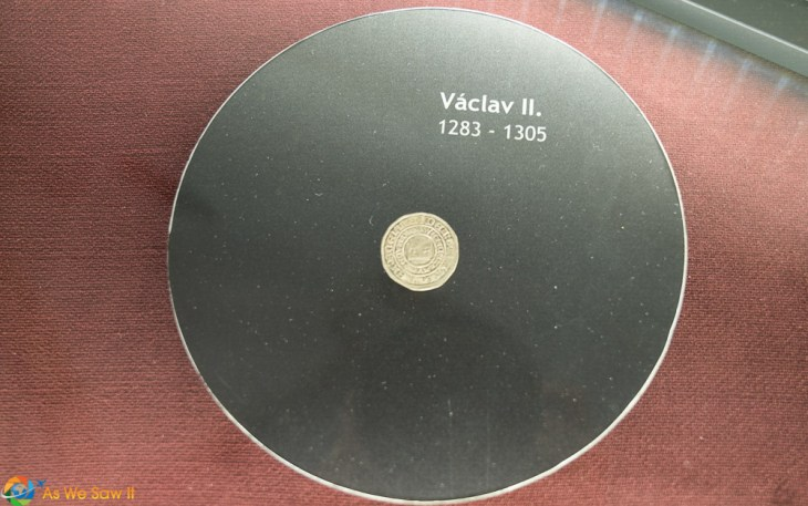 Original silver Groschen coin on display at Italian Court in Kutna Hora
