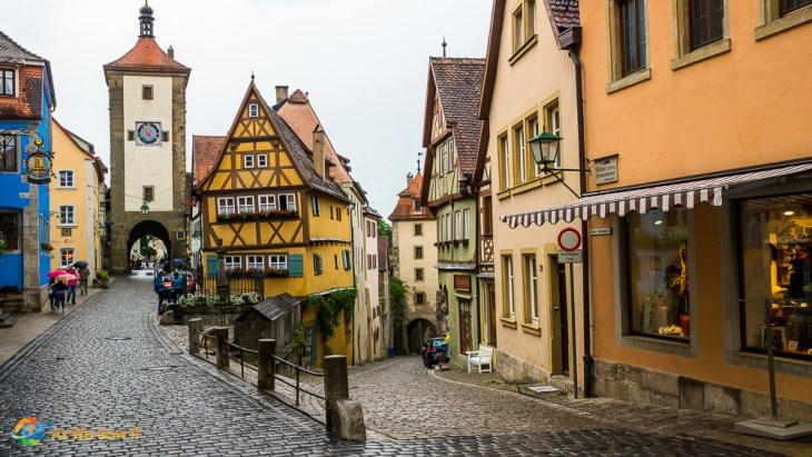 A street leads up to one of the medieval gates in Rothenburg ob der Tauber