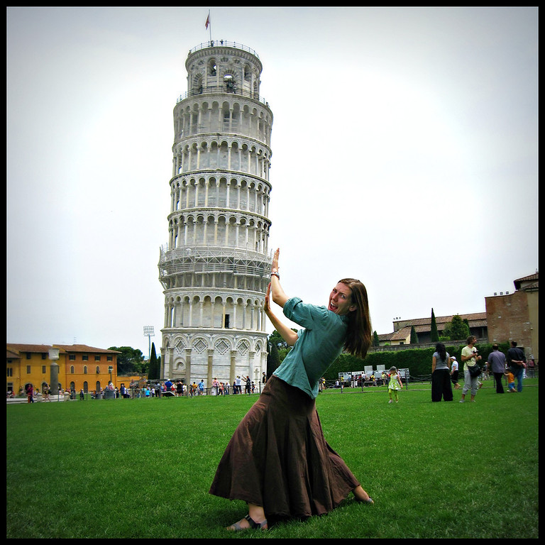 Fun at the Leaning tower of Pisa