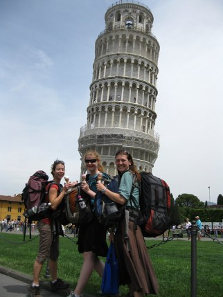 with friends at the leaning tower
