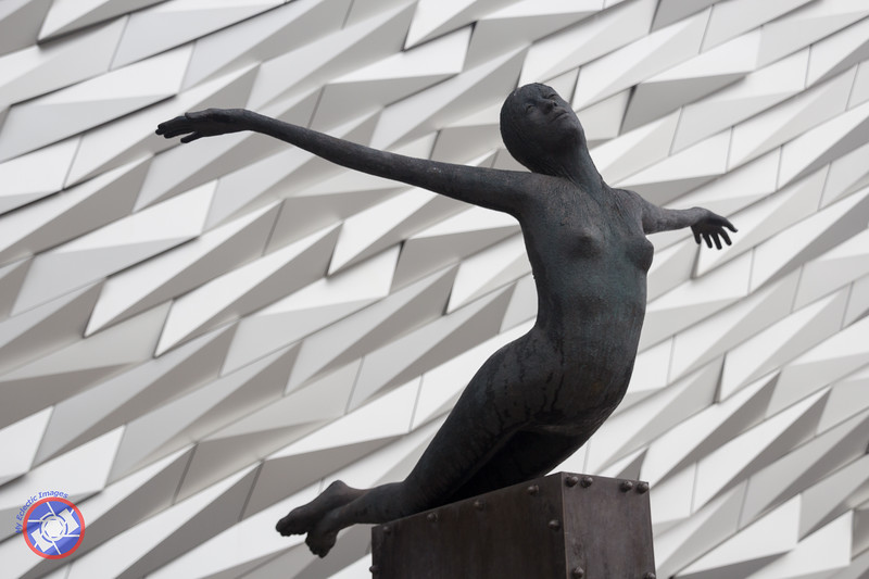Sculpture of a Diving Woman in Front of Titanic Belfast (©simon@myeclecticimages.com)