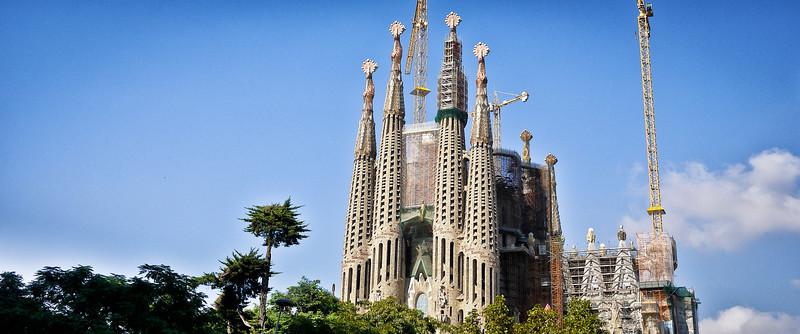 Blue skies at La Sagrada Familia in Barcelona