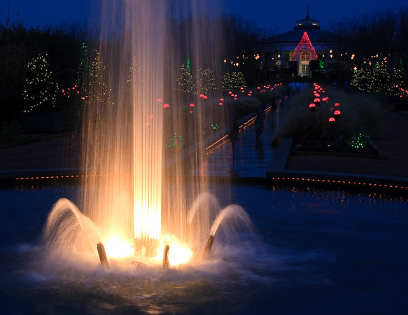 Daniel Stowe Fountain at Christmas