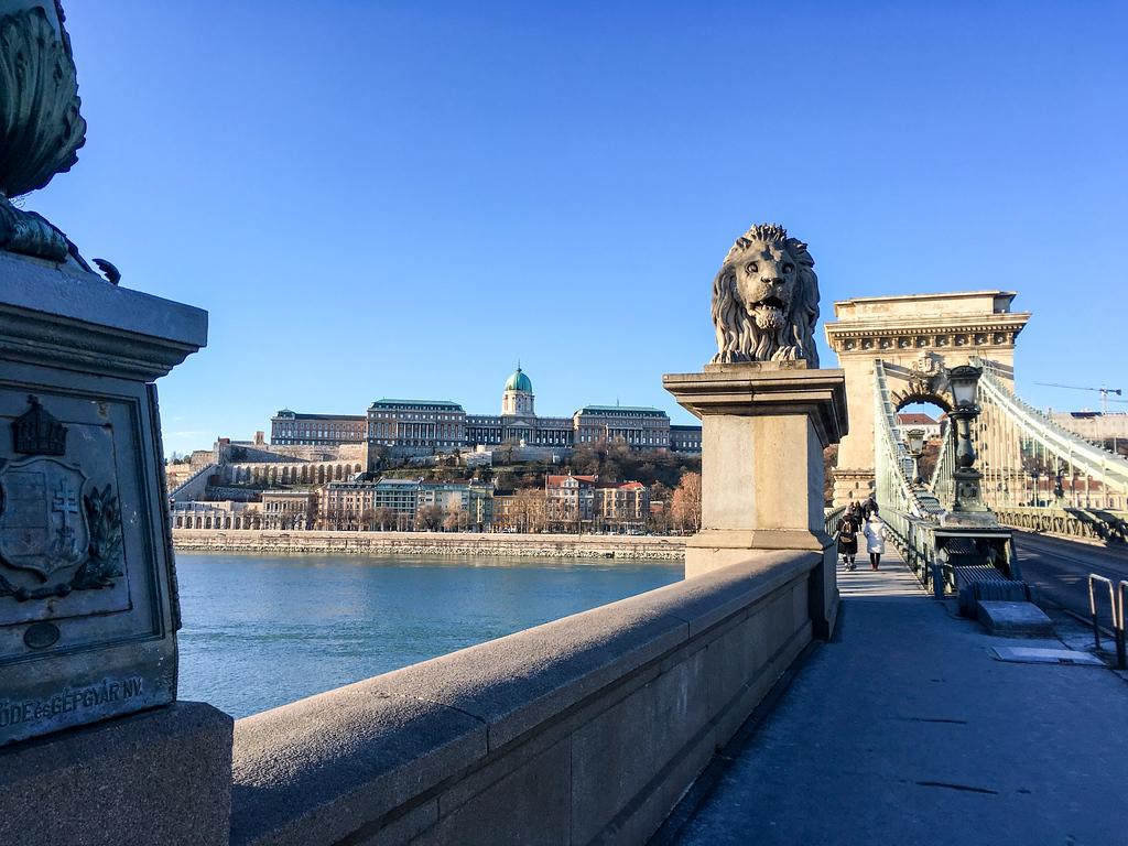 Crossing Budapest's chain bridge.