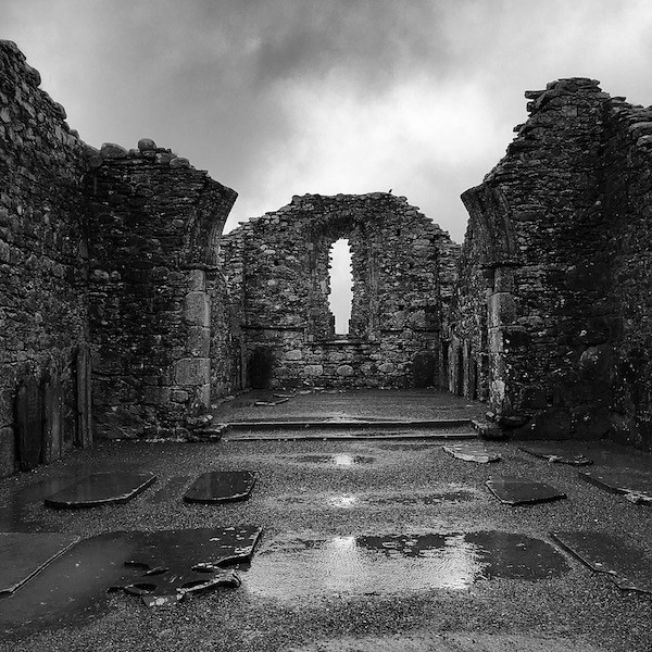 Glendalough Monastic Settlement ruins in the rain