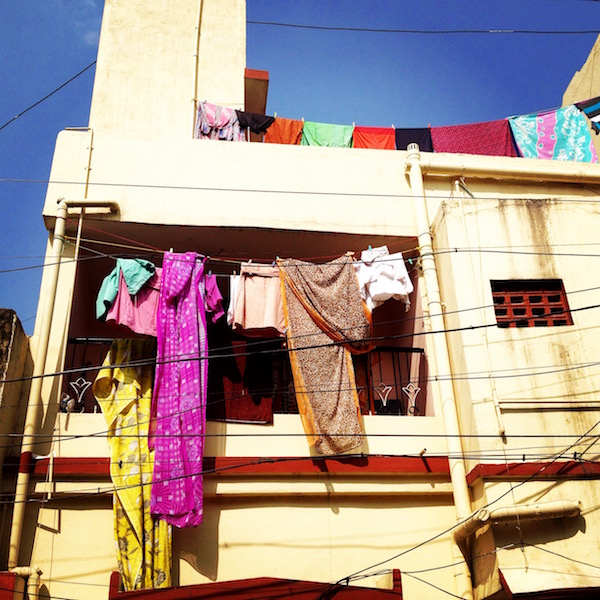 Clothes hanging from building from India trip