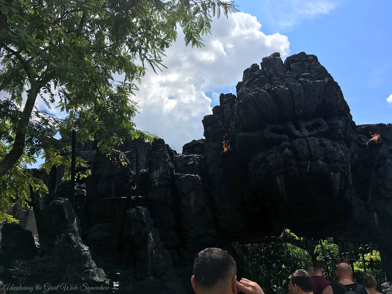 The imposing entrance to Skull Island Reign of Kong, the newest ride at Islands of Adventure