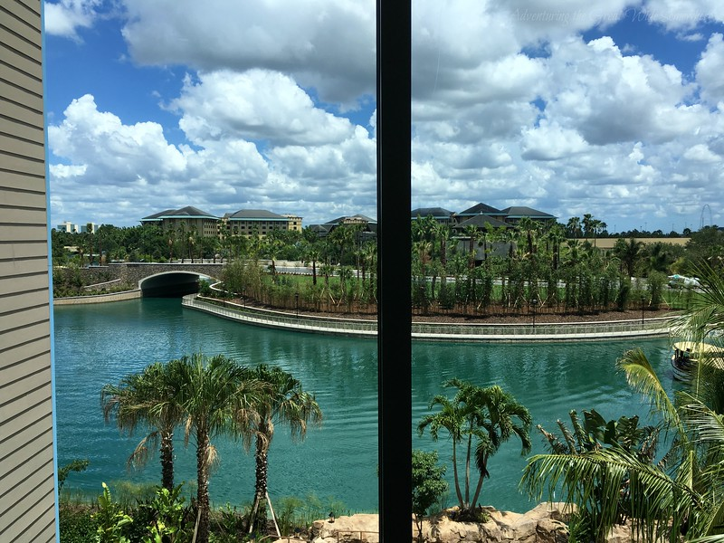 A view of the waterways leading to the theme parks, seen from the Sapphire Falls Resort elevator waiting area.