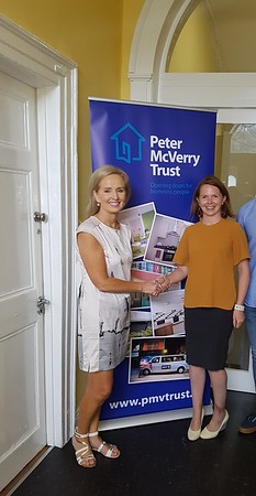 Ciara  Byrnes,  APTL  HR  Manager  presented  €3000  to  Nell  Ward,  Corporate  Fundraising  Manager  at  Peter  McVerry  Trust  following  the  Mandela  Day  activities.