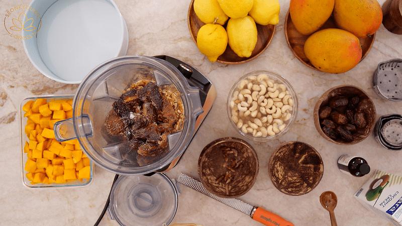 Plant-based Mango Cheesecake, making crust