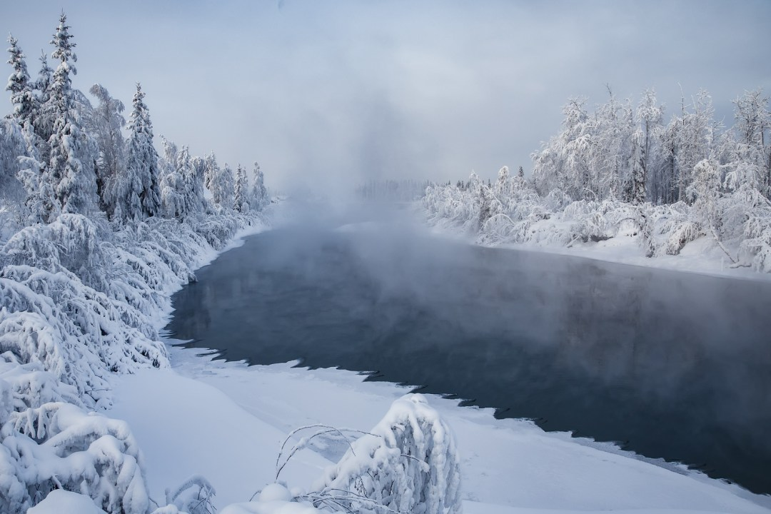 Chena river and steam in winter in Fairbanks, Alaska