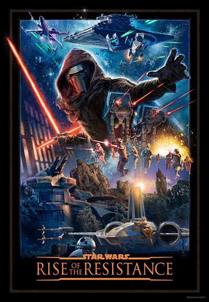 star wars rise of the resistance attraction poster galaxys edge