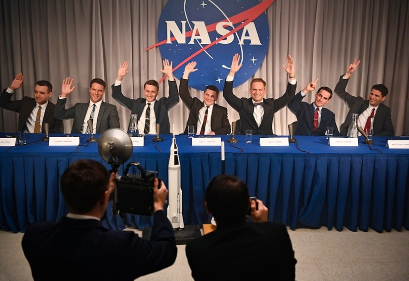 L to R: Micah Stock as Deke Slayton, Jake McDorman as Alan Shepard, Aaron Staton as Wally Schirra, Michael Trotter as Gus Grissom, Patrick J. Adams as John Glenn, Colin O'Donoghue as Gordon Cooper and James Lafferty as Scott Carpenter in National Geographic's THE RIGHT STUFF on Disney+. (National Geographic/Gene Page)