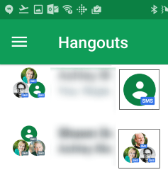 thumbnails in a messaging app identifying conversation members