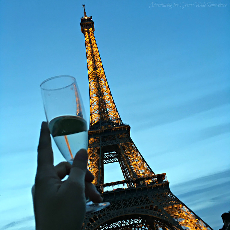 A champagne toast beneath the Eiffel Tower on the last of our five days in Paris.