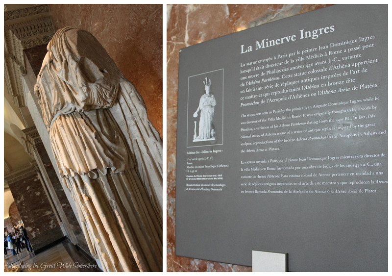 Statue of Minerva, accompanied by a brief informational sign