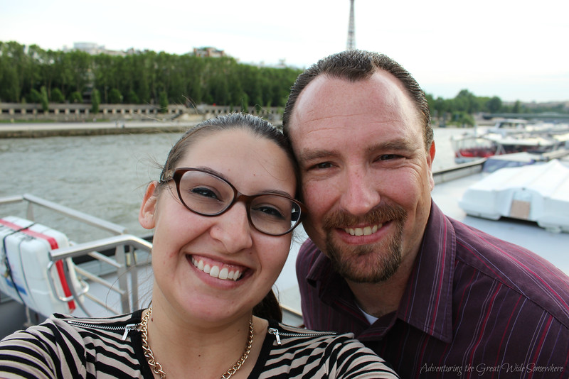 Selfie with the Eiffel Tower from the Top Deck of our Bateaux Mouches dinner cruise