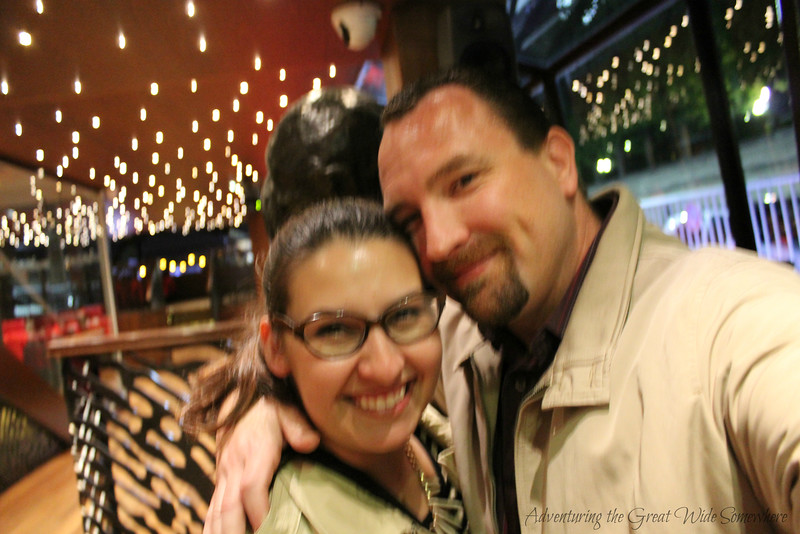 Blurry, blissful photo of Dan and I after our Bateaux Mouches dinner cruise through Paris