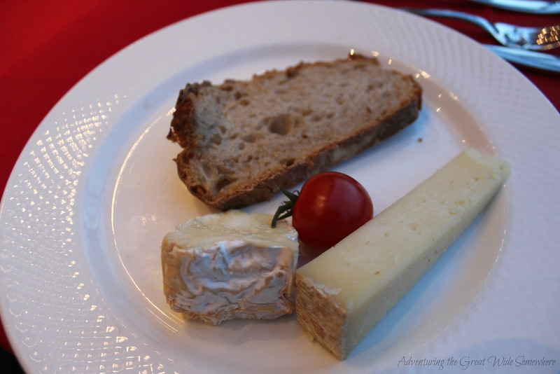 Duo of seasonal aop cheese, one of the final courses on the Bateaux Mouches dinner cruise through Paris