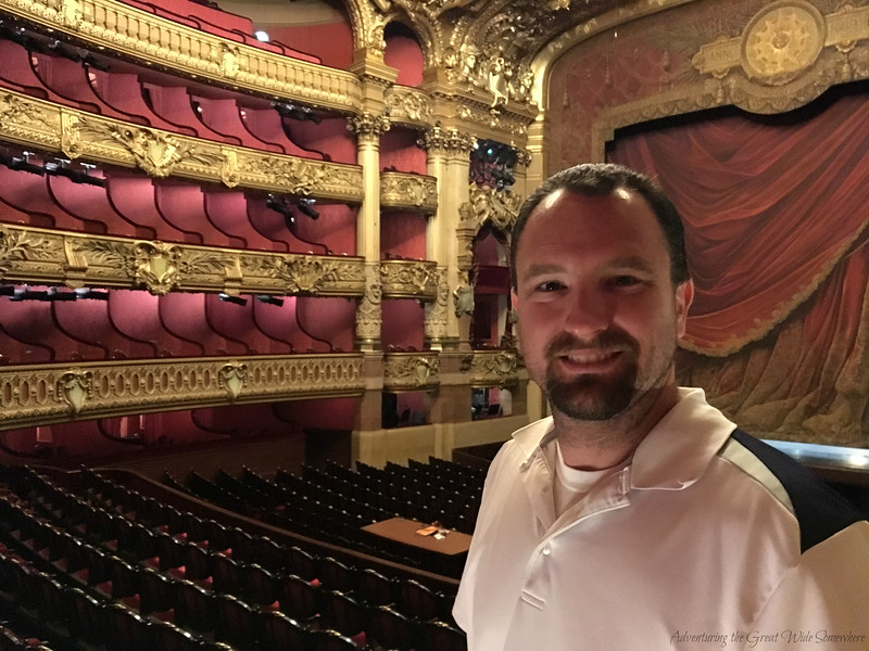 Dan in the beautiful auditorium of the Palais Garnier in Paris