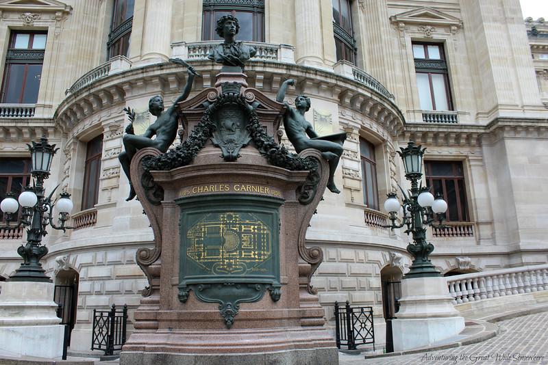 A beautiful blueprint of the Palais Garnier, located at the entrance to the beautiful Parisian opera house.