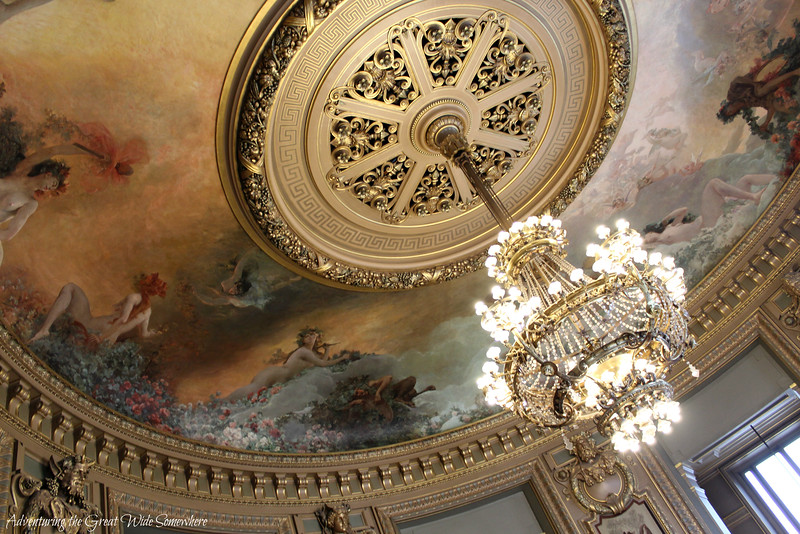 Dreamy Pastel-Hued Ceiling Fresco and Shimmering Chandelier at the Palais Garnier, France