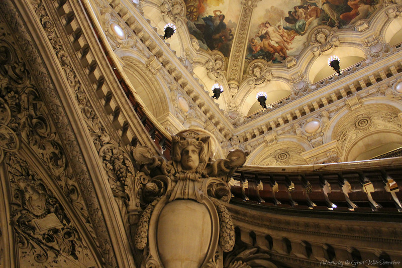 Close up detail of the staircase stonework at the Palais Garnier
