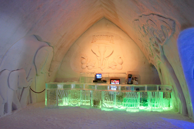 one of the bars in the ice hotel
