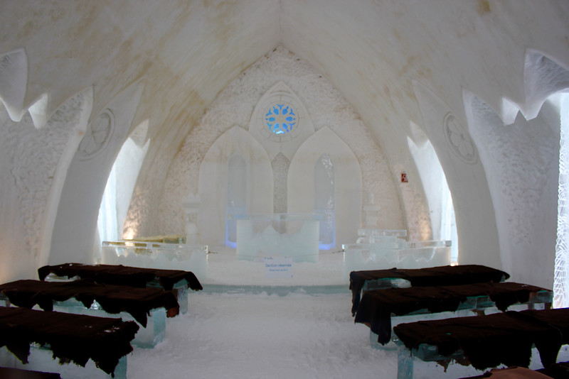 inside the chapel at the ice hotel