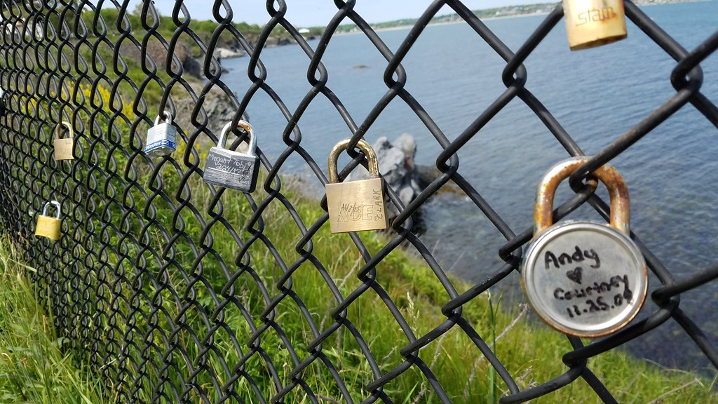 Fence with locks on Cliff Walk