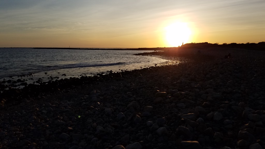 Shoreline by Point Judith at sunset