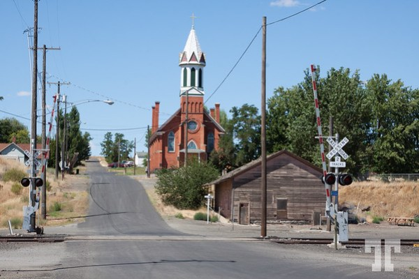 Church and train station in Spargue, Washington