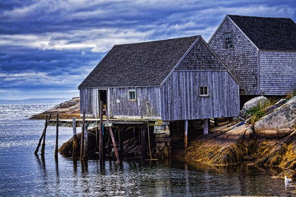 Fisherman's shacks at low tide in Peggy's Cove, Nova Scotia