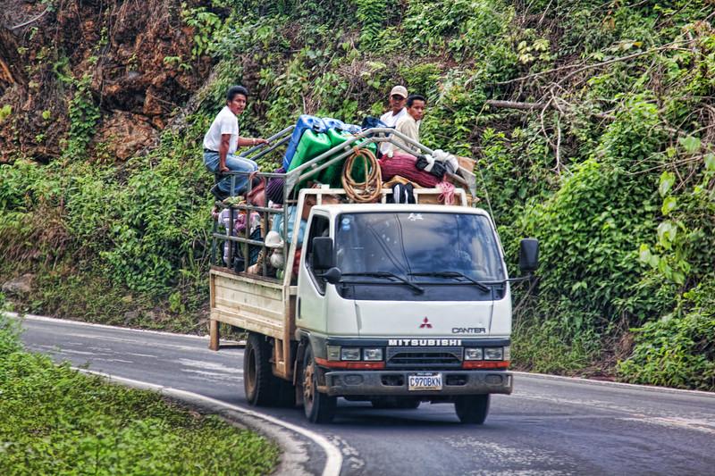 Overloaded public transportation in Guatemala