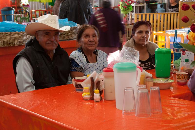 Mexican family in the Acatlan de Asorio, Puebla market