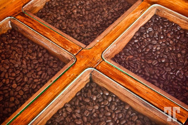 Table decorated with coffee beans in Ajijic, Mexico
