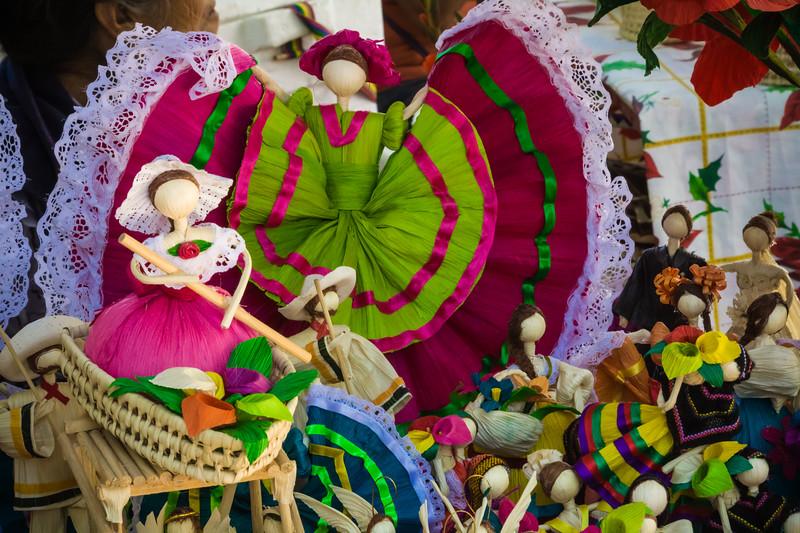 Corn husk made dolls at Ajijic market, Mexico