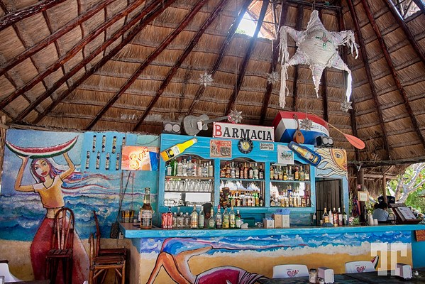 Bar restaurant at the Mayan ruins Tulum, Mexico