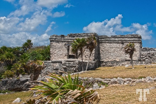 Stone structures at Tulum Mayan archeological site