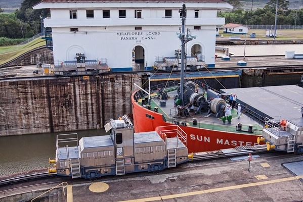 Leadeing locomotices at Panama Canal Miraflores Locks