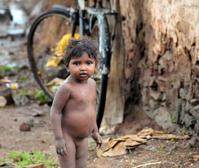 Little Naked Girl Outside Her Simple Home Very Basic Rural Living Conditions In This Maharashtrian