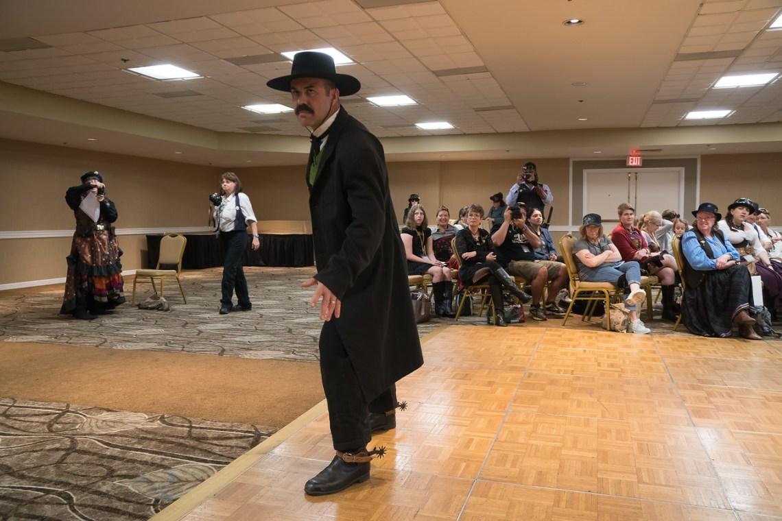 Wyatt Earp on the Fashion Show runway at the Gaslight Gathering
