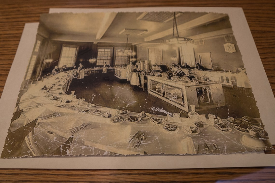 Photo of the lunchroom on display at the Harvey House