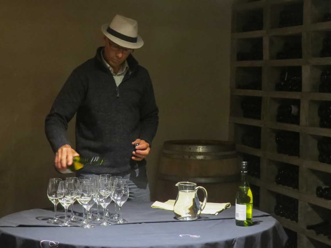 Our guide, Simon, pours the wine at Chard Farm