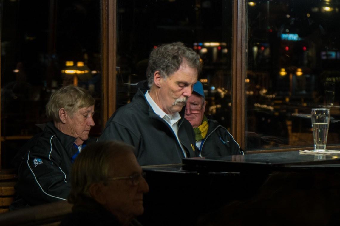 The piano man accompanies the singalong on the TSS Earnslaw