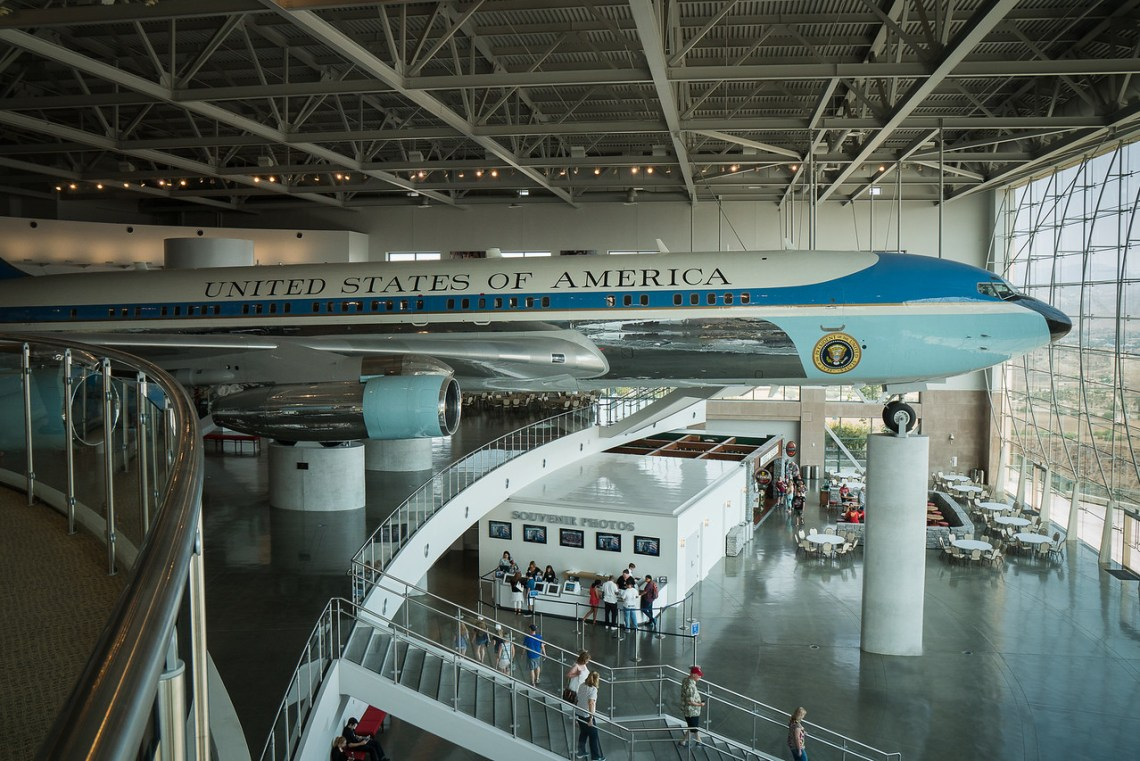 Air Force One in pavilion at Reagan Library
