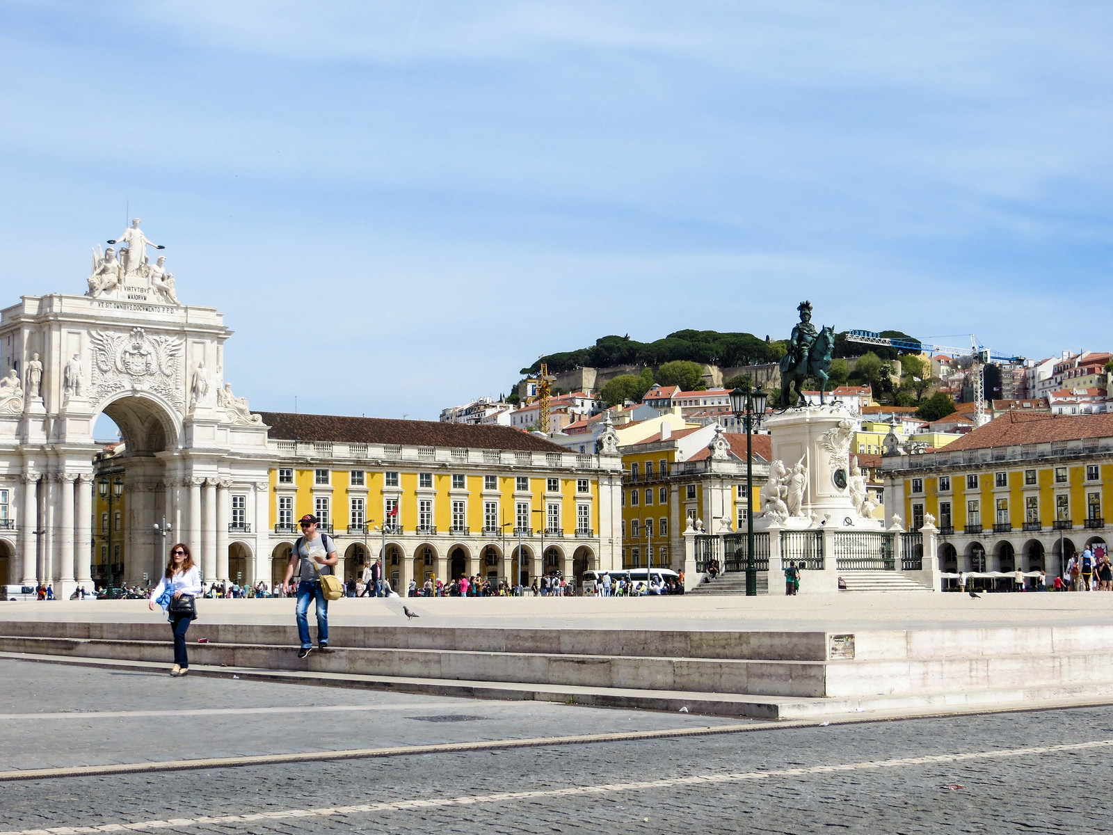 two days lisbon: spend time relaxing outside in big squares